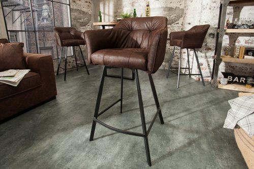 Krzesło barowe LOFT 100cm brązowe hoker