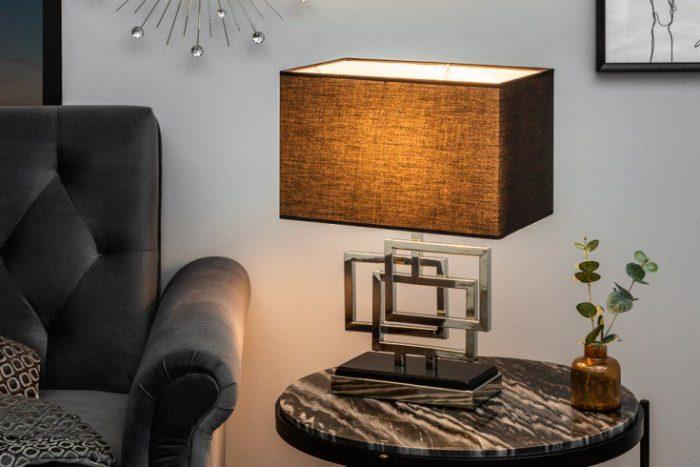 Lampa stołowa LEONOR 56cm srebrna