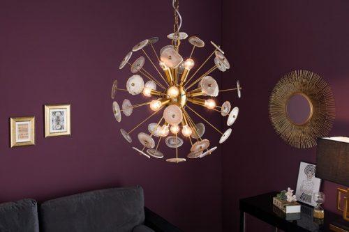 Elegancka lampa wisząca ONYX 60cm złota z wiszącymi kamieniami