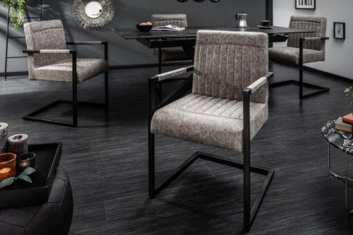Krzesło GEORGE w kolorze szarym z podłokietnikami płozy
