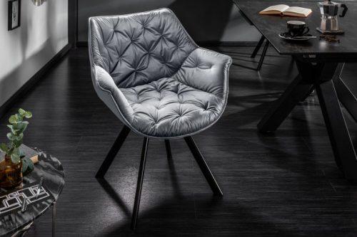 Krzesło COMFORT aksamit ciemnoszare podłokietniki pikowane