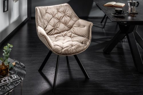 Krzesło COMFORT aksamit beż podłokietniki pikowane