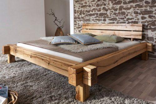 Łóżko z litego drewna THOR II 180x200cm dębowe