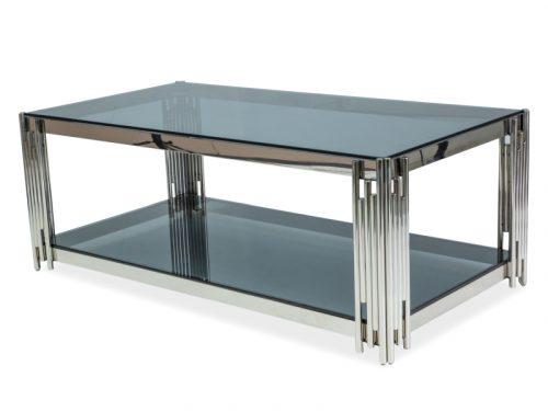 Ława nowoczesna srebrna FOSSIL A 120X60 szkło