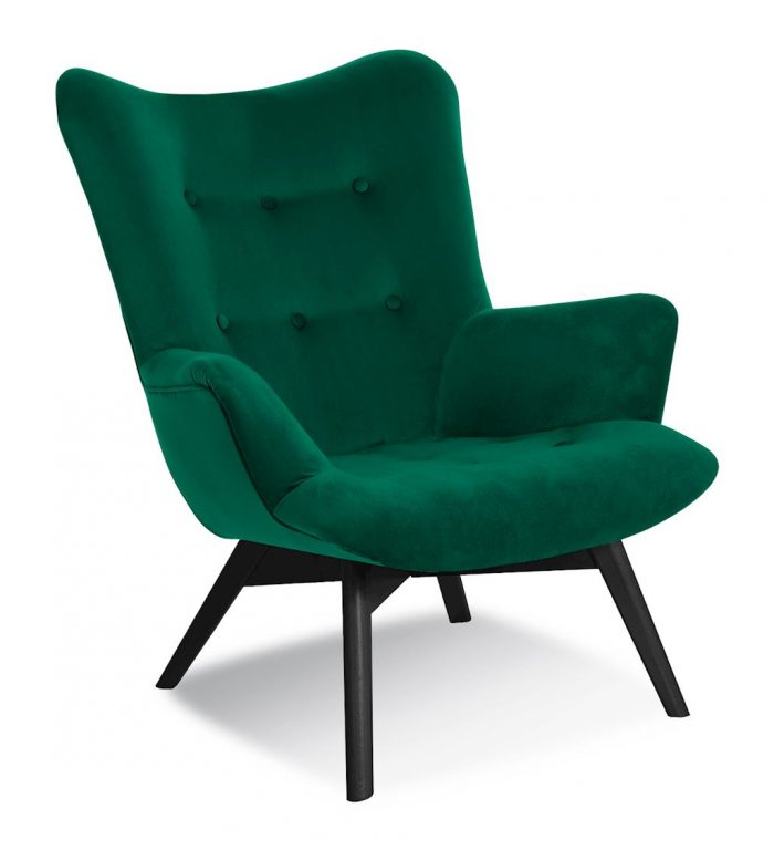 Fotel ekskluzywny butelkowa zieleń design ANGEL