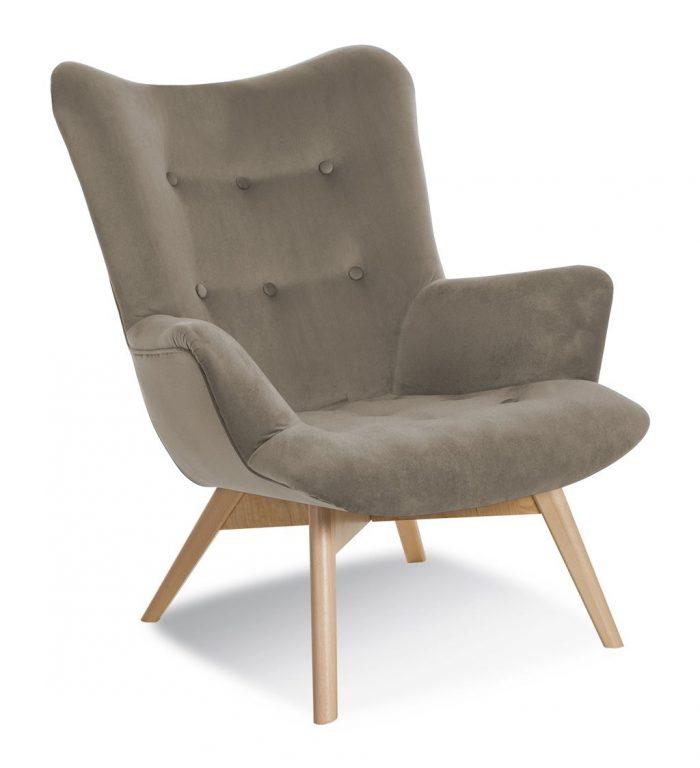 Fotel ekskluzywny beżowo-szary design ANGE