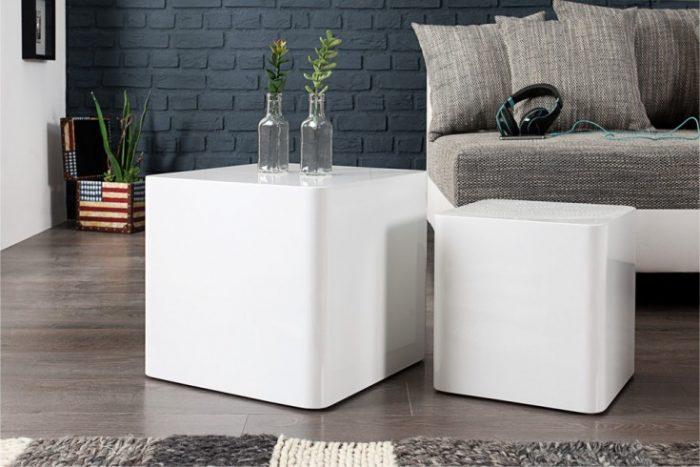 Stolik kawowy MONOBLOCK biały zestaw 40cm