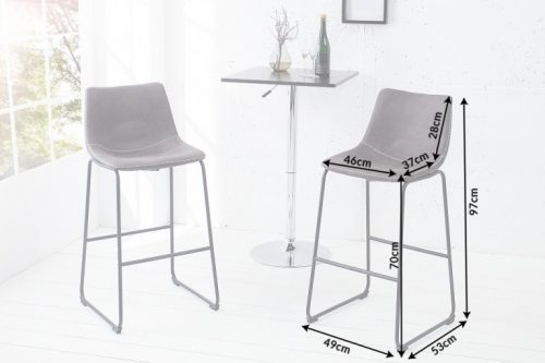 Krzesło barowe DJANGO hoker szare
