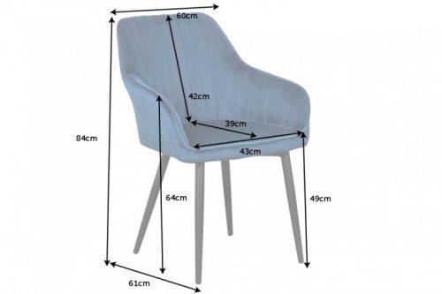 Krzesło TURIN vintage niebieski aksamit
