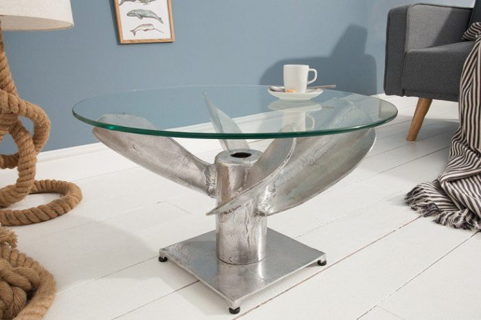 Stolik kawowy OCEAN 60 cm aluminium okrągły