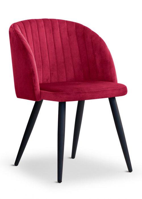 krzesło ADELE czerwone, nowoczesne, klasyczne, czarne nogi
