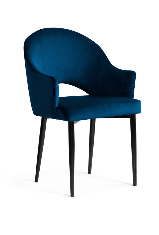 krzesło GODA granatowe, czarne nogi, klasyczne ,eleganckie