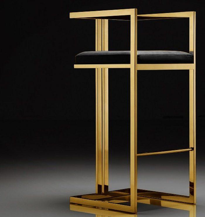 Hoker Exclusive krzesło barowe złote