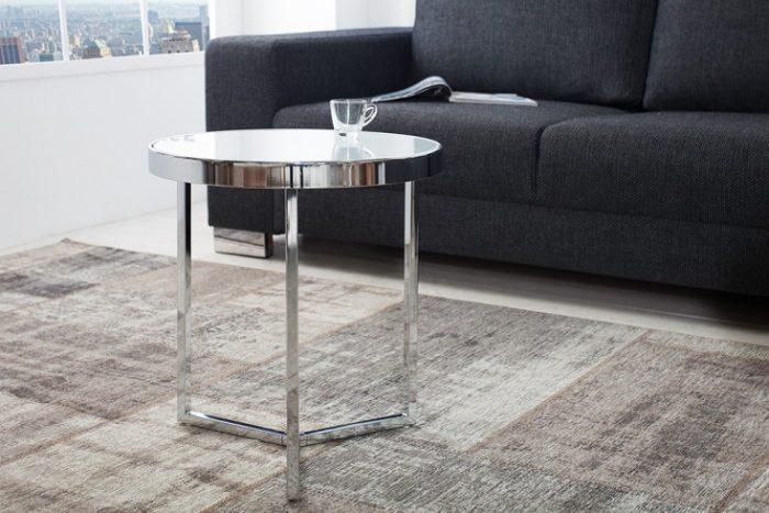 Oryginalny stolik kawowy ASTRO biały chromowany 45 cm