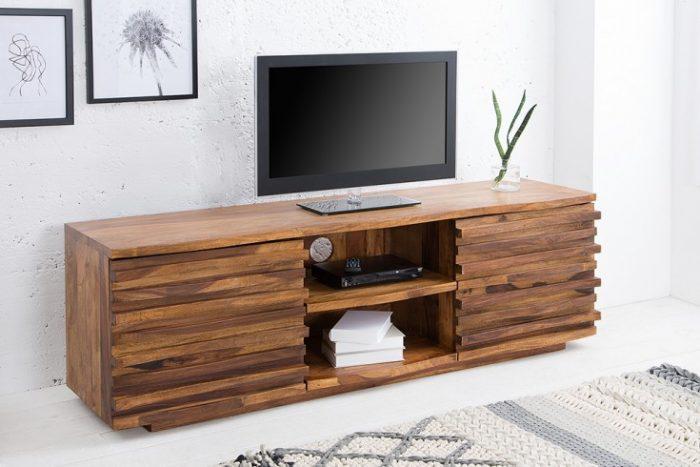 Masywna komoda pod TV RELIEF 150cm drewno sheesham