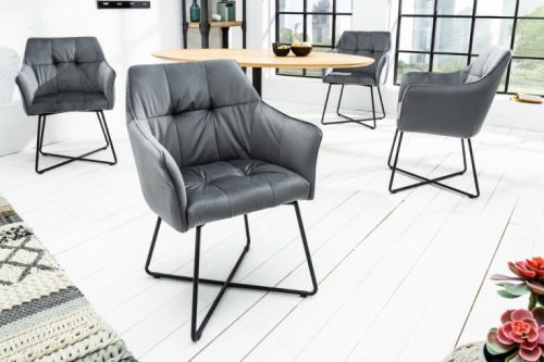 Krzesło LOFT aksamit srebrnoszare z podłokietnikiem