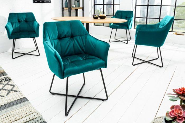 Krzesło LOFT aksamit turkusowe z podłokietnikiem