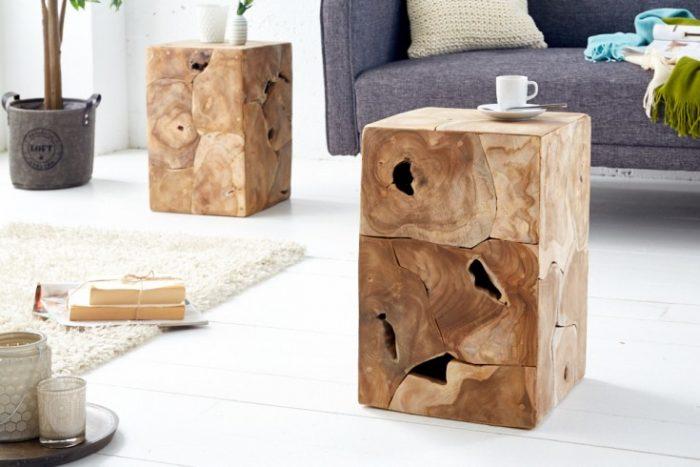 Solidny stolik boczny SQUARE 30cm stołek z drewna tekowego