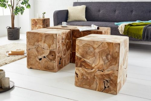 Solidny stolik boczny SQUARE 40cm stołek z drewna tekowego