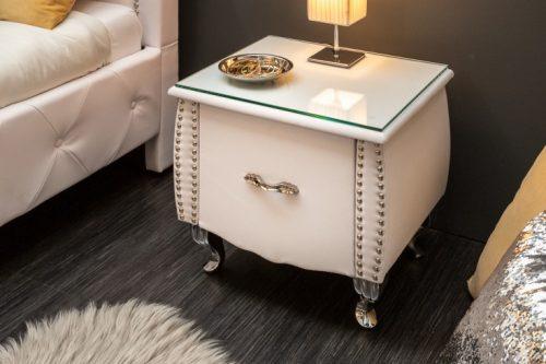Elegancki stolik nocny EXTRAVAGANCIA 47 cm biały