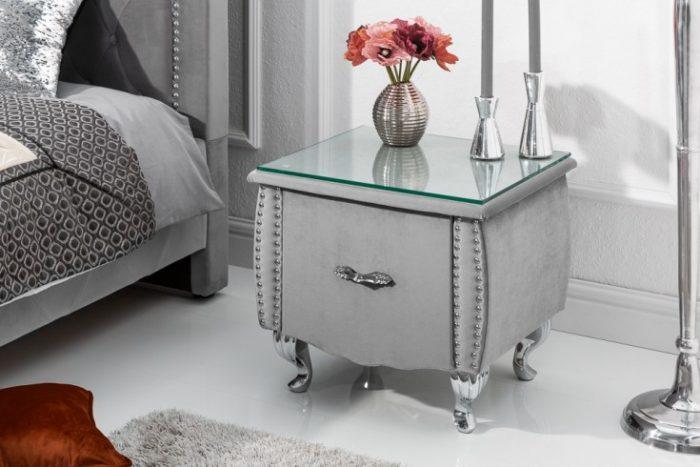 Elegancki stolik nocny EXTRAVAGANCIA 47 cm srebrno-szary