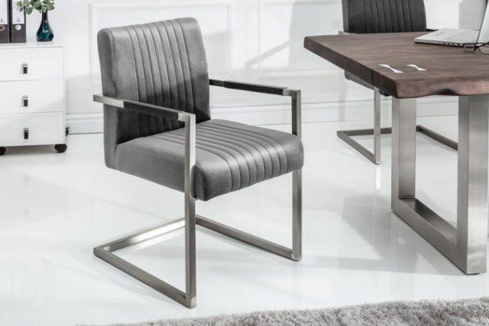 Krzesło ze stali nierdzewnej BIG ASTON szare z podłokietnikami