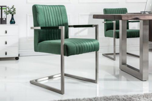 Krzesło ze stali nierdzewnej BIG ASTON zielone z podłokietnikami