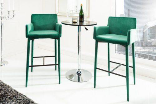 Stołek barowy MILANO z podłokietnikiem aksamit zielony