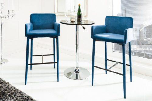 Stołek barowy MILANO z podłokietnikiem aksamit niebieski