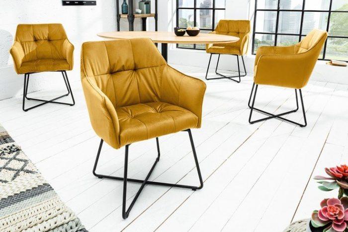 Krzesło LOFT aksamit musztardowe z podłokietnikiem