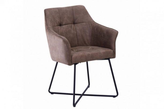 Krzesło LOFT mikrofibra brązowe z podłokietnikiem