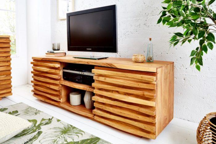 Masywna komoda pod TV RELIEF 150cm drewno akacjowe