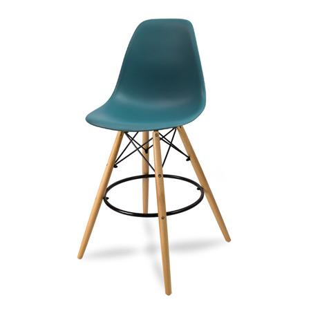 Krzesło barowe hoker z podnóżkiem drewniane nogi turkus