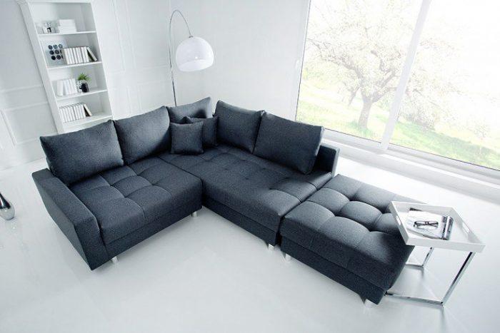Nowoczesna sofa narożna KENT 220cm w kolorze antracytowym