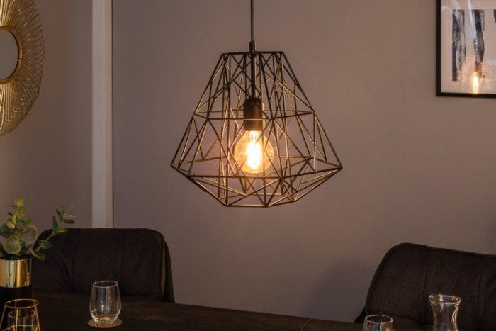 Filigranowa lampa wisząca CAGE S czarnaWzór przemysłowy