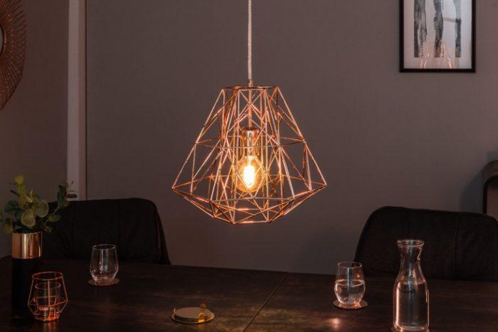 Filigranowa lampa wisząca CAGE S różowe złoto Wzór przemysłowy