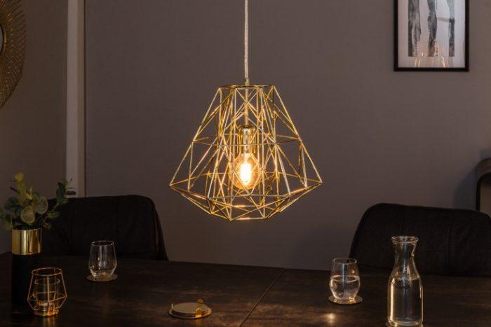 Filigranowa lampa wisząca CAGE S złota Wzór przemysłowy