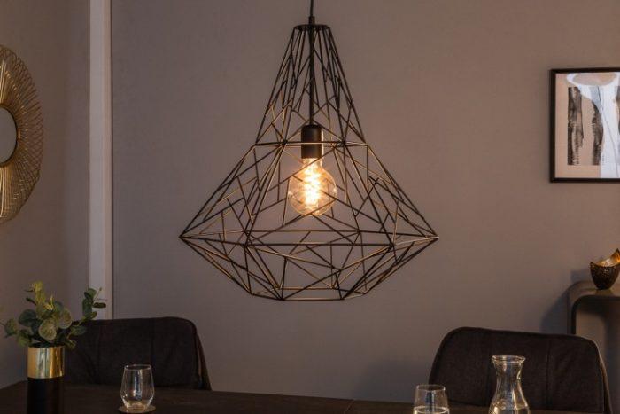 Filigranowa lampa wisząca CAGE L czarna Wzór przemysłowy