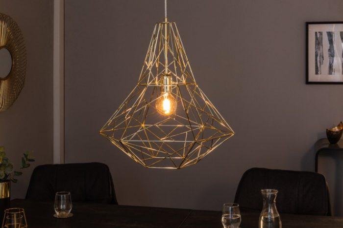 Filigranowa lampa wisząca CAGE L złota Wzór przemysłowy