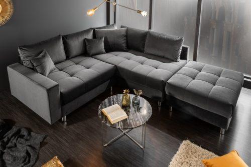 Nowoczesna sofa narożna KENT 220cm w kolorze szarym z aksamitu
