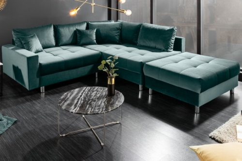 Nowoczesna sofa narożna KENT 220cm w kolorze benzyny z aksamitu