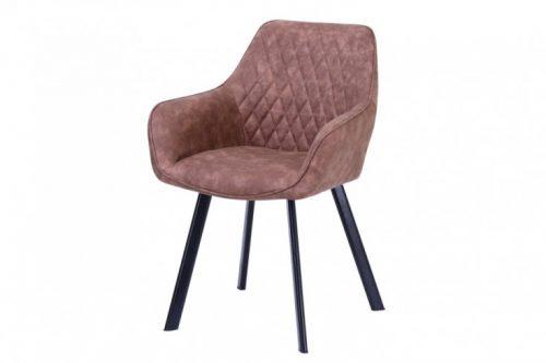 Krzesło retro PALERMO jasnobrązowe z podłokietnikiem
