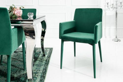 Fotel MILANO z podłokietnikami zielony aksamit