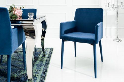 Fotel MILANO z podłokietnikami niebieski aksamit
