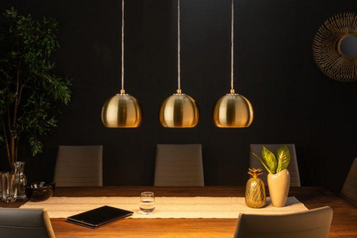 Nowoczesna 3-częściowa lampa wisząca Golden Ball