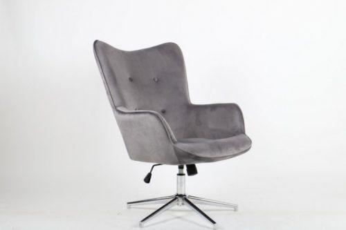 Elegancki fotel obrotowy MR. szary aksamit regulowany