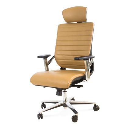 Fotel biurowy obrotowy z zagłówkiem na kółkach brązowy