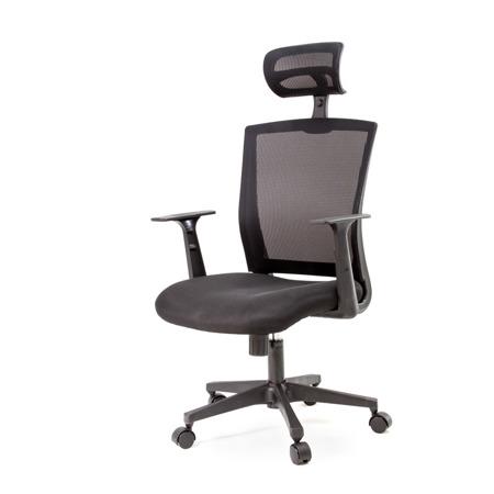 Fotel biurowy obrotowy z regulowanym oparciem i zagłówkiem czarny