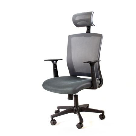 Fotel biurowy obrotowy z regulowanym oparciem i zagłówkiem do biura szare