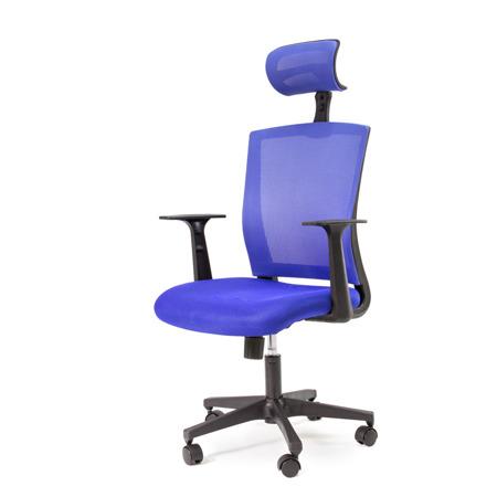 MAsywny Fotel biurowy obrotowy regulowana wysokość i zagłówek niebieski
